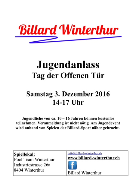 Jugendanlass Flyer